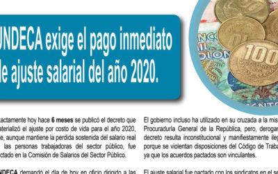 UNDECA exige el pago inmediato de ajuste salarial del año 2020